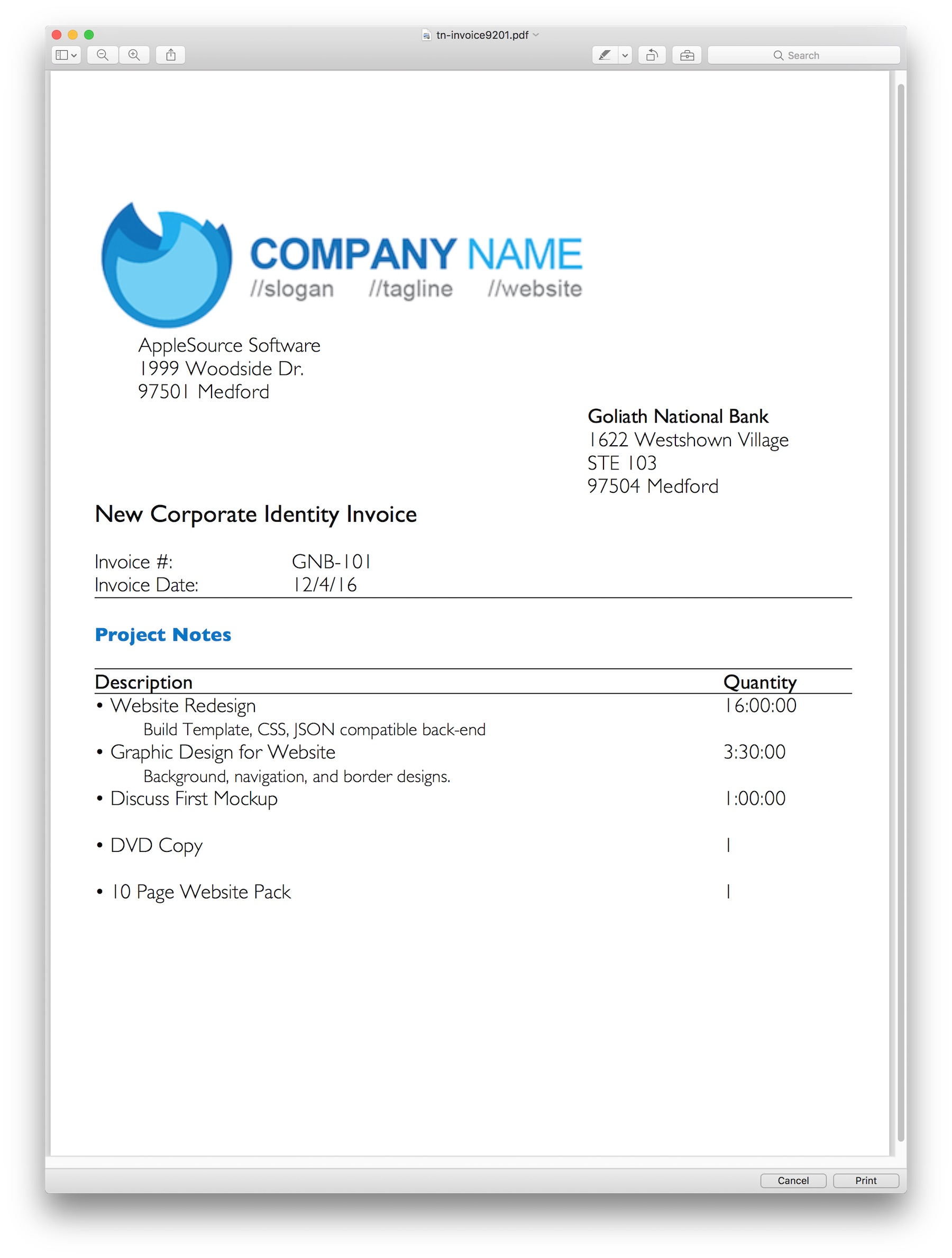 AppleSource Software TimeNet Invoice Templates Time Tracking - Software invoice template