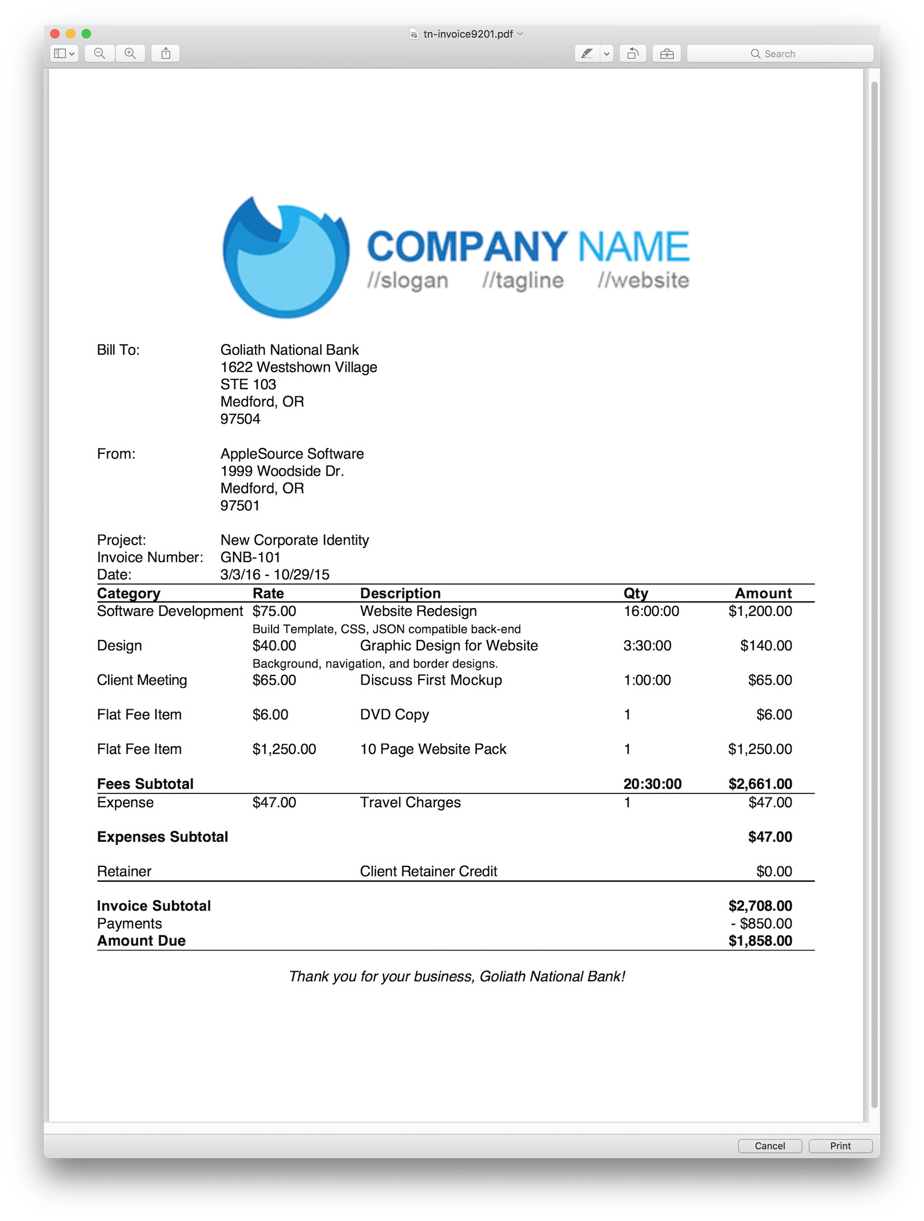 Applesource Software Timenet Invoice Templates Time Tracking