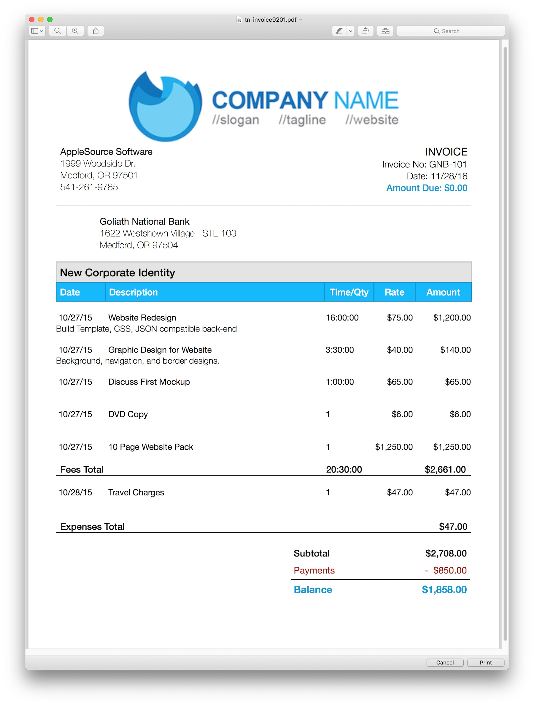 AppleSource Software TimeNet Invoice Templates Time Tracking - Official invoice template